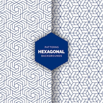 Blue abstract hexagonal seamless pattern