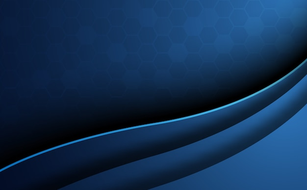 Blue abstract honeycomb background with curve foreground. wallpaper and texture concept. minimal theme.