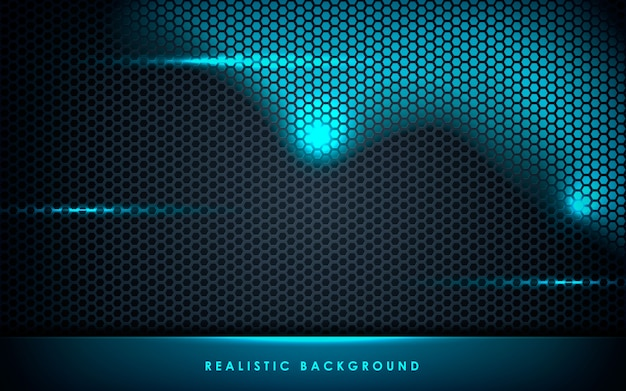 Blue abstract layer on black hexagon background