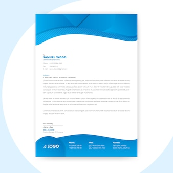 Blue abstract  letterhead template