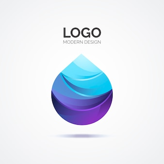 Blue abstract logo in modern design