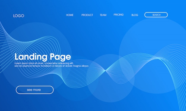 Blue abstract modern landing page design