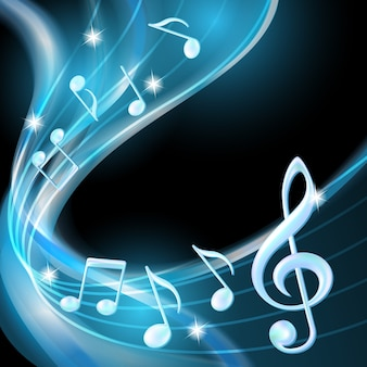 Blue abstract notes music background.  illustration