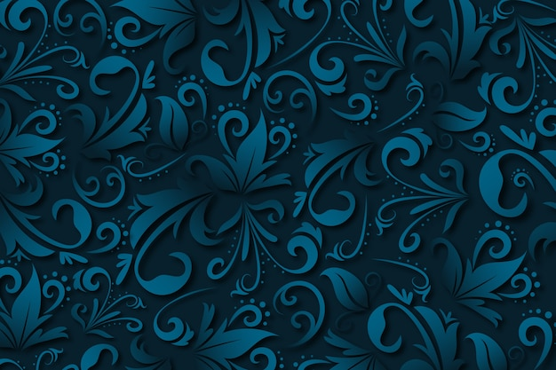 Blue abstract ornamental flowers background