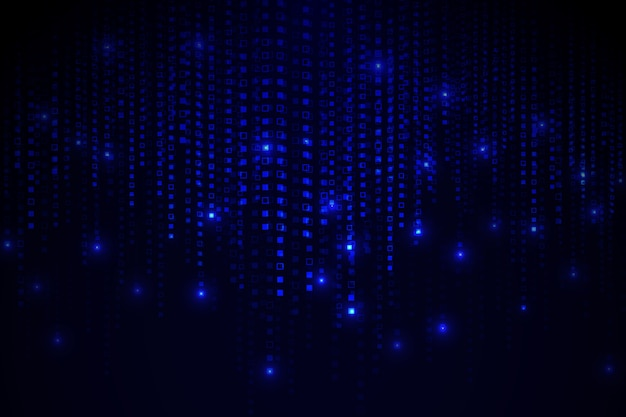 Blue abstract pixel rain background