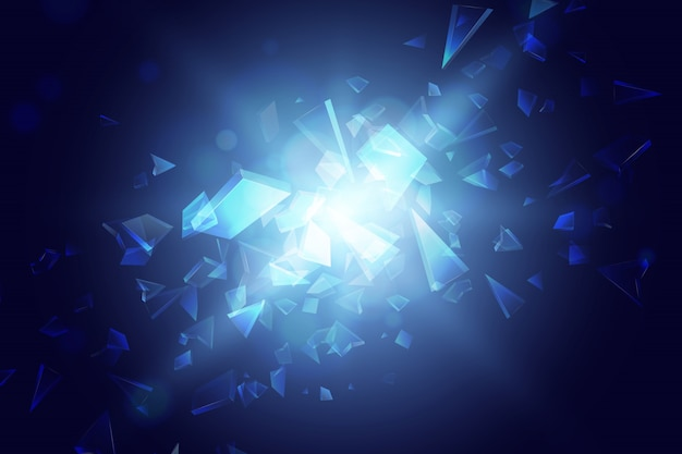Blue abstract polygon explosion background