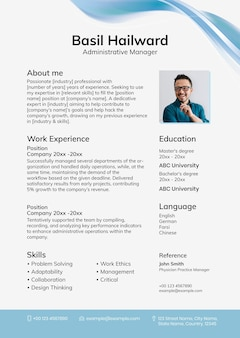 Blue abstract resume template with photo