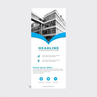 Blue abstract roll up template