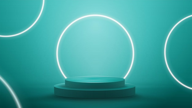 Blue abstract scene with neon white rings. empty podium with white neon rings on background.