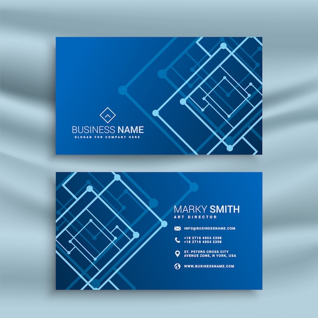Free Blue abstract shape business card design SVG DXF EPS
