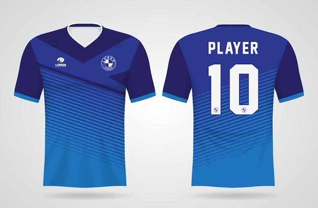 チームのユニフォームとサッカーのtシャツのデザインの青い抽象的なスポーツジャージテンプレート
