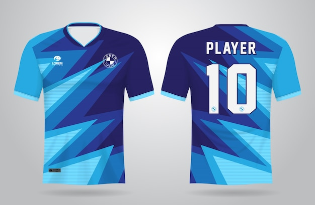 Blue abstract sports jersey template for team uniforms