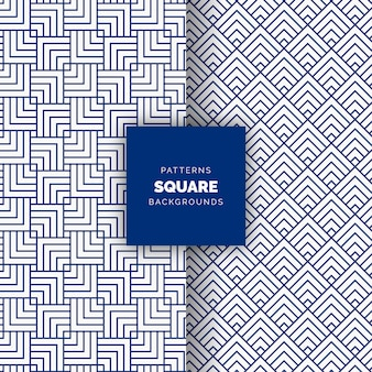 Blue abstract square seamless vector geometric pattern background