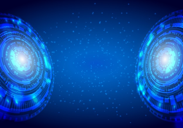 Blue abstract technological background with various technological elements