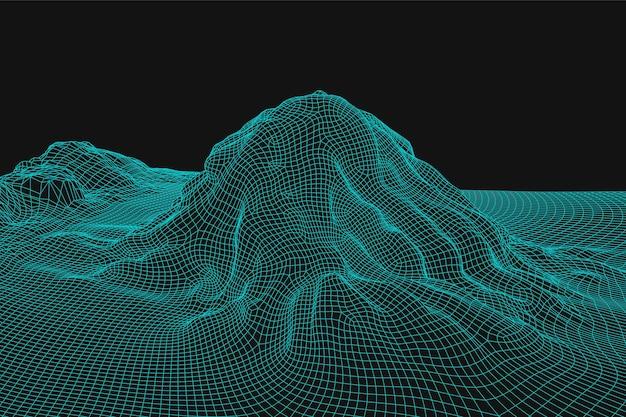 青い抽象的なベクトルワイヤーフレーム風景の背景。 3dの未来的なメッシュの山。 80年代のレトロなイラスト。サイバースペーステクノロジーの谷。