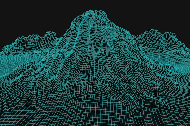 Blue abstract vector wireframe landscape background d futuristic mesh mountains s retro illustration...