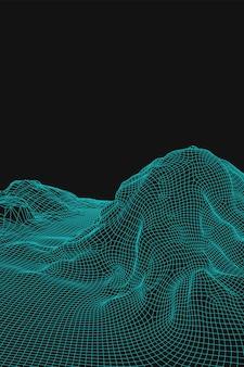 青い抽象的なベクトルワイヤーフレームの風景