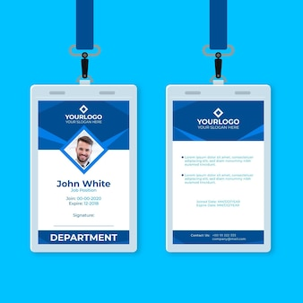 Blue abstract vertical id card