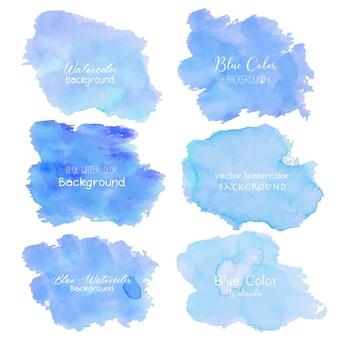 Синий абстрактный фон акварелью.