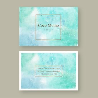 青い抽象的な水彩カードテンプレート