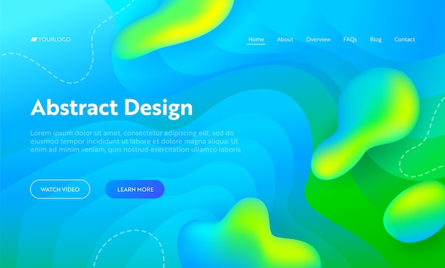 Blue abstract wave drop shape landing page background. futuristic digital motion bright gradient pattern. creative neon glow wavy backdrop for website web page. flat cartoon vector illustration