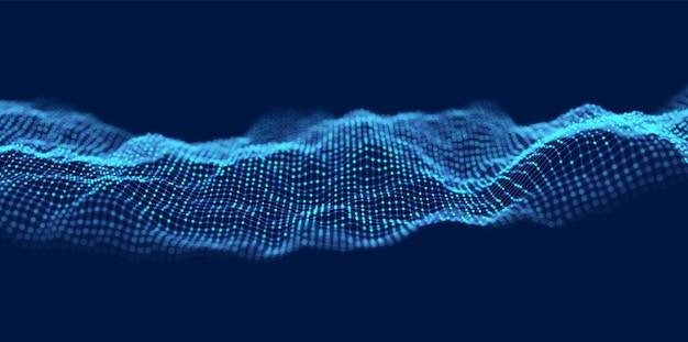 青い抽象的な波。マジックラインデザイン。フローカーブモーションエレメント。ネオングラデーションの波状のイラスト。