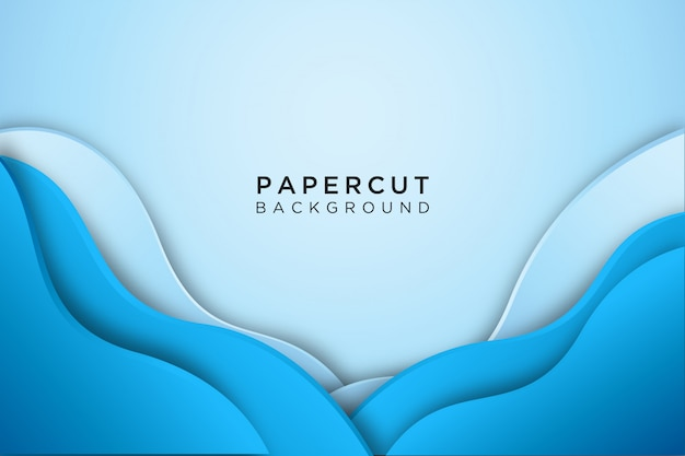 Blue abstract wavy paper cut background