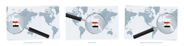 Blue abstract world maps with magnifying glass on map of egypt with the national flag of egypt. three version of world map.