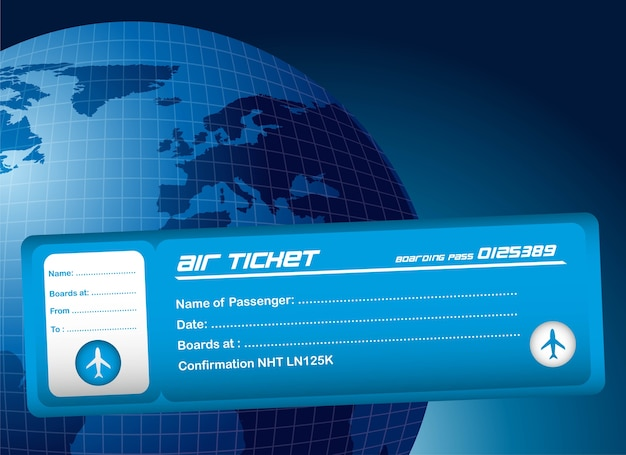 Blue air ticket over blue planet background
