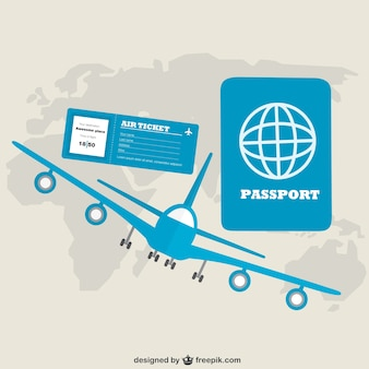 Blue aireplane and passport with world map
