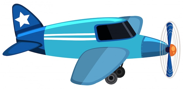 Blue airplane flying
