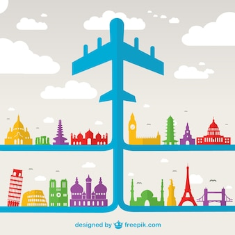 Blue airplane and world monuments
