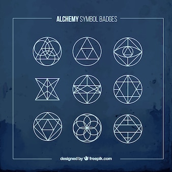 Blue alchemy symbols badges