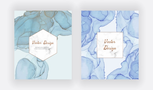 Blue alcohol ink cards with geometric marble frame. modern abstract watercolor design.