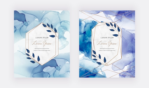 Blue alcohol ink cards with geometric marble frames and leaves. trendy template