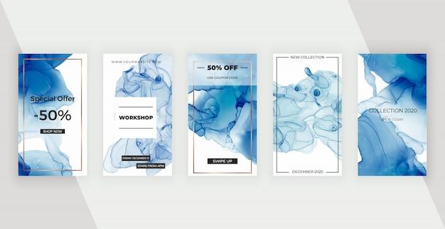 Синие алкогольные чернила баннеры истории социальных медиа. современный дизайн для флаера, плаката, открытки