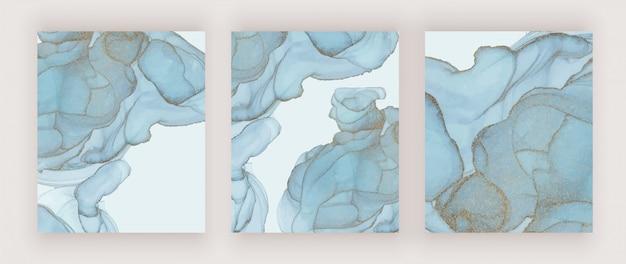 青いアルコールインクテクスチャカバー。抽象的な手描きの水彩画の背景。