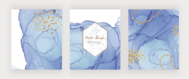 Blue alcohol ink texture covers with gold glitter confetti and marble frame. abstract hand painted watercolor design