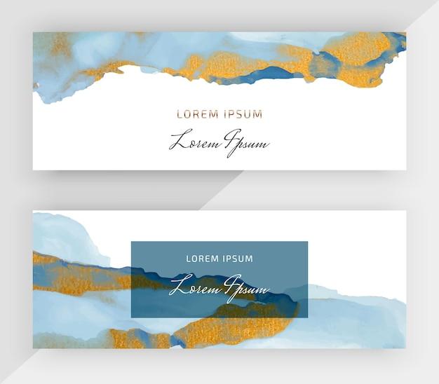 Синие спиртовые чернила с золотым блеском горизонтальные баннеры для социальных сетей