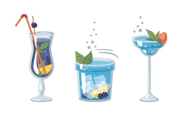 フルーツとハーブを使ったブルーアルコールカクテル