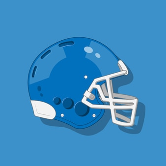 Blue american football helmet on blue background