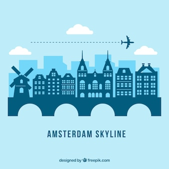 Blue amsterdam skyline design
