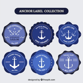 Blue anchor label collection of six