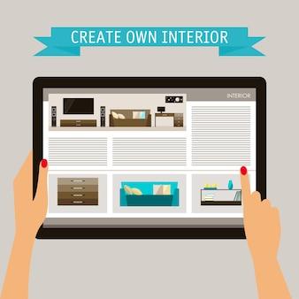 青とベージュ色の概念図は、スローガンで柔らかい背景に分離されたインテリア要素を持つウェブサイトとホームデザインをテーマにトレンディなフラットスタイルで