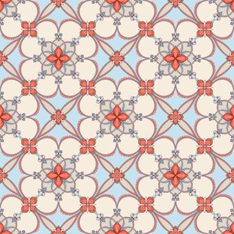 파란색과 베이지 색 꽃 패턴