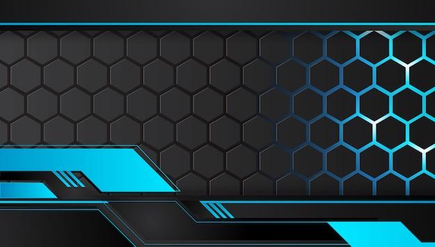 青と黒の抽象的な金属デザイン技術革新コンセプトの背景。 Premiumベクター