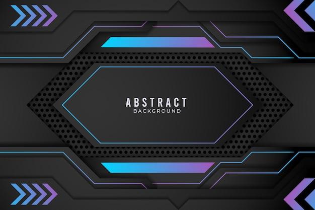 파란색과 검은색 추상 금속 디자인 기술 혁신 개념입니다. 프리미엄 벡터