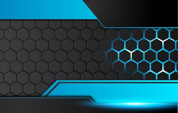 青と黒の抽象的な金属フレームレイアウト技術革新の背景。 。