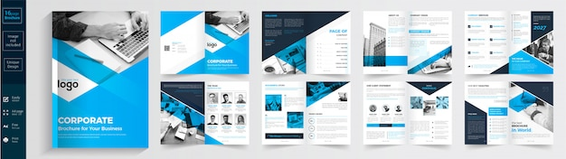 青と黒のビジネスパンフレットのテンプレート