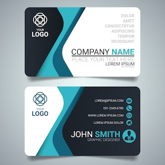 Blue and black creative business card template design.